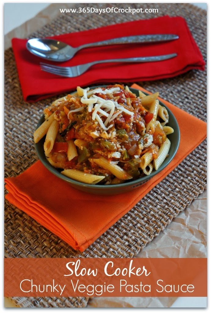 Recipe for Slow Cooker Chunky Veggie Pasta Sauce #meatless #vegan #healthyslowcooker