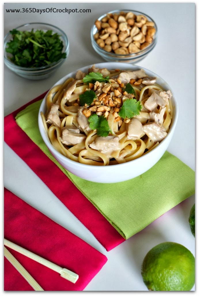 Slow Cooker Recipe for Peanut Sauce with Chicken and Fettuccine #crockpotrecipe #slowcooker #chicken