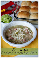 Recipe for Crockpot Chicken Cordon Bleu Soup #soup #slowcooker #crockpotdinner