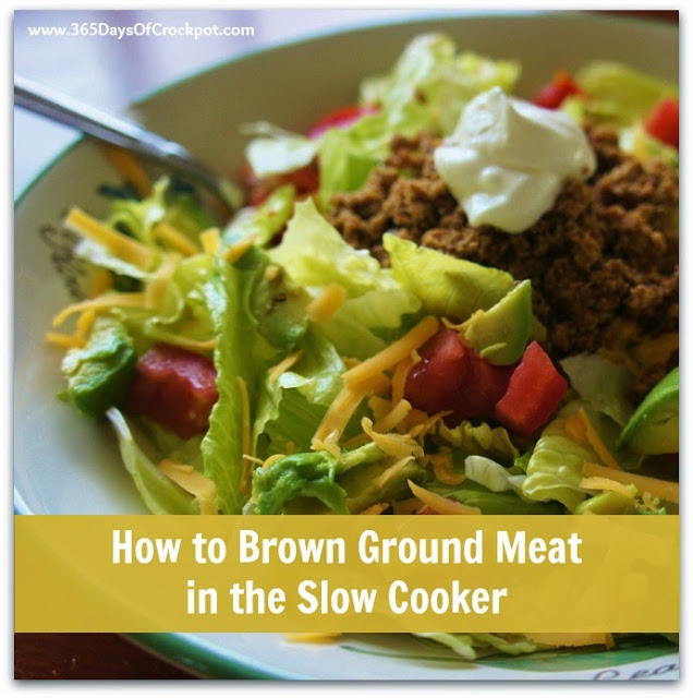 Did you know you can brown ground meat in the slow cooker?  It's so easy! #slowcooker #crockpot
