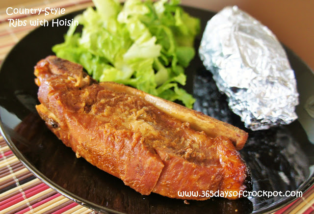 Recipe for 4-ingredient Slow Cooker (crockpot) Country-Style Ribs with Hoisin