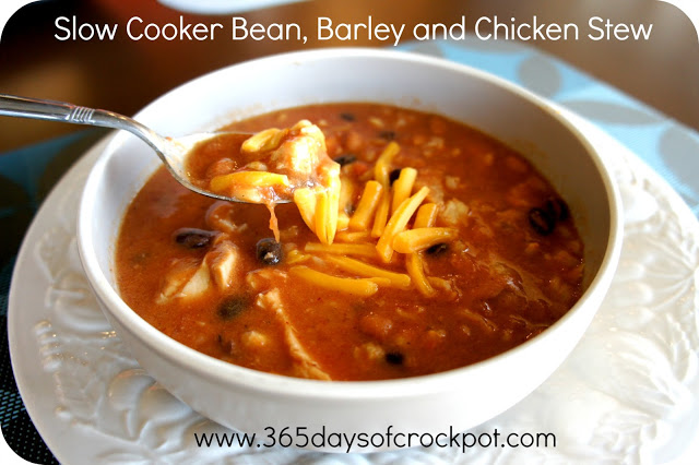 Creamy Bean, Barley and Chicken Stew in the CrockPot #crockpot #soup