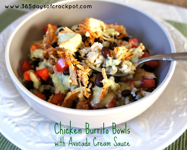 Chicken Burrito Bowls with Avocado Cream Sauce #crockpotdinner #recipe