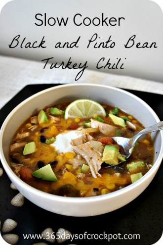 Recipe for Slow Cooker (crock pot) Spicy Black and Pinto Bean Turkey Chili