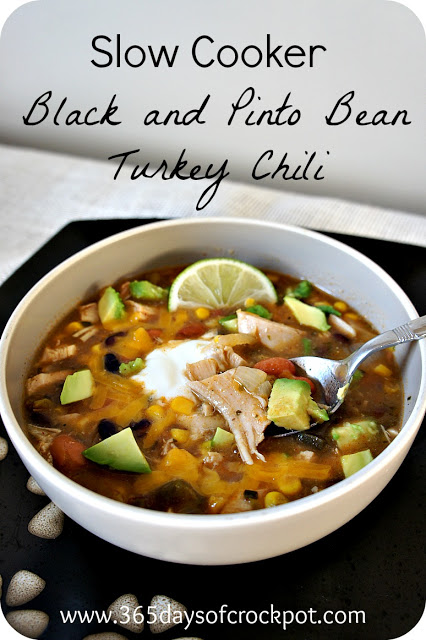 for Slow Cooker (crock pot) Spicy Black and Pinto Bean Turkey Chili ...