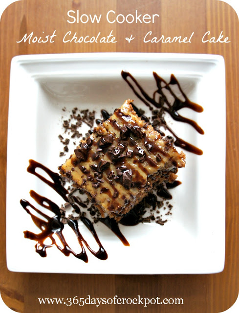 Recipe for Slow Cooker Moist Chocolate and Caramel Cake #dessert