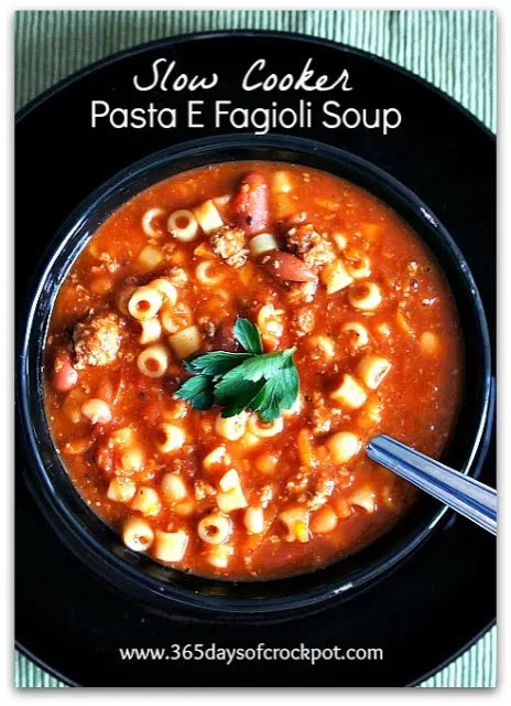 Slow Cooker Copycat Olive Garden Pasta E Fagioli Soup 365 Days Of Slow Cooking And Pressure