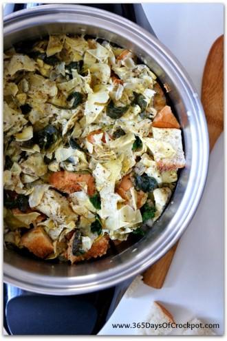 Slow Cooker Recipe for Spinach Artichoke Bread Pudding