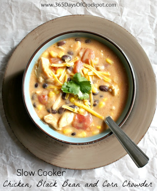 Recipe for Slow Cooker Chicken, Black Bean and Corn Chowder #crockpot #slowcooker #soup #easydinner
