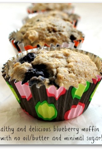 Recipe for Whole Wheat-Oatmeal Blueberry Banana Muffins