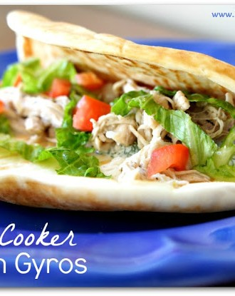 Recipe for Slow Cooker Chicken Gyros with Tzatiki Sauce