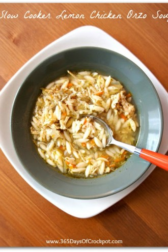 Recipe for Slow Cooker Chicken Lemon Orzo Soup