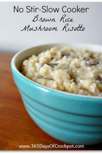 Recipe for Slow Cooker No-Stir Brown Rice Mushroom Risotto