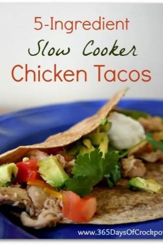 5-Ingredient Slow Cooker Chicken Taco Recipe