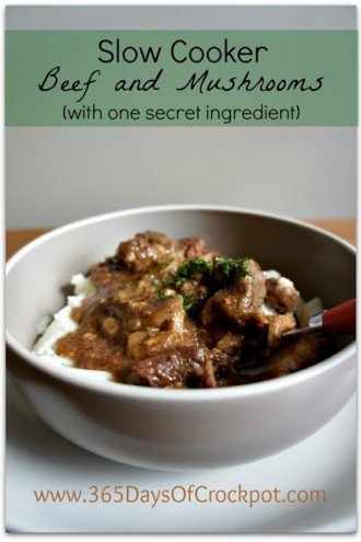 Recipe for Slow Cooker Beef and Mushrooms (with a secret ingredient)