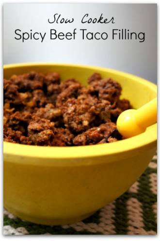 Slow Cooker (no browning!) Spicy Beef Taco Filling…only 4 ingredients!