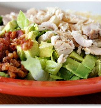 Recipe for Cobb Salad with Crockpot Chicken and Tomatillo Ranch Dressing