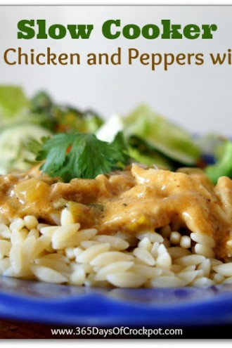 Recipe for Slow Cooker Creamy Chicken and Peppers with Orzo