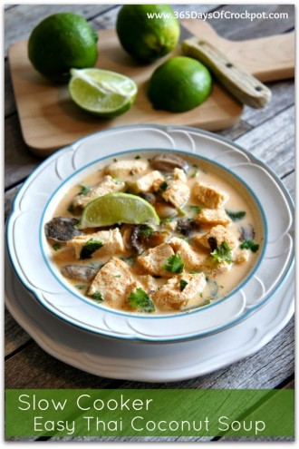 Slow Cooker Easy Thai Coconut Soup with Lemongrass
