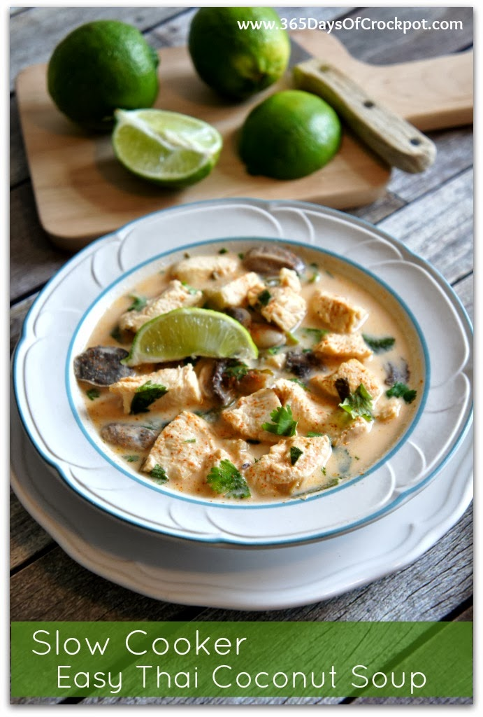 Slow Cooker Easy Thai Coconut Soup with Lemongrass - 365 Days of Slow Cooking and Pressure Cooking