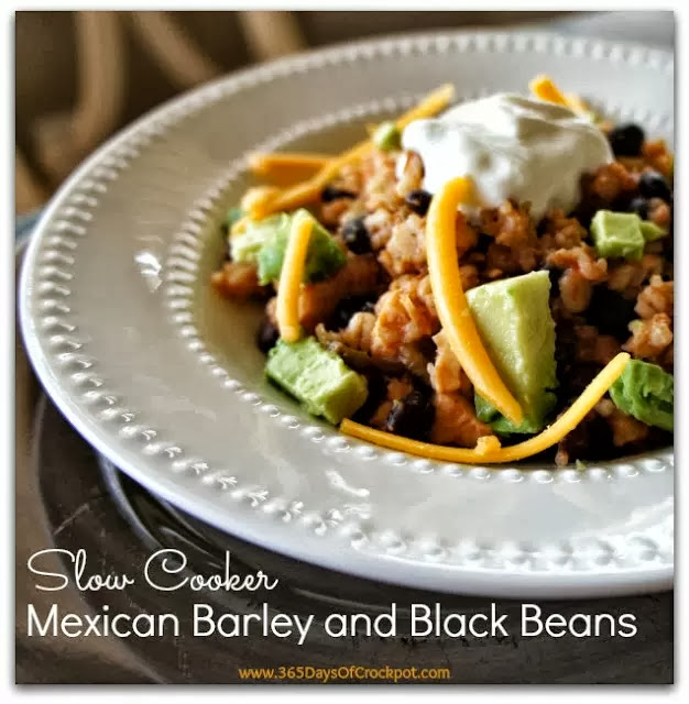 Recipe for Slow Cooker Mexican Barley and Black Beans #easydinner #crockpotrecipe