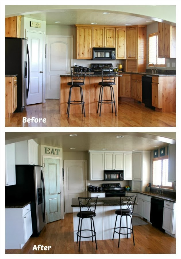Repainting kitchen cabinets before and after mf cabinets for Repainting white kitchen cabinets