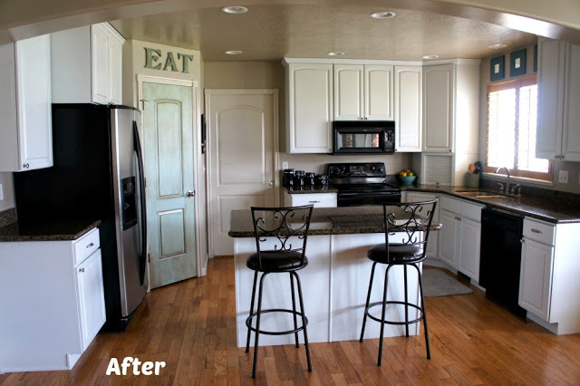 White Painted Kitchen Cabinet Reveal with Before and After Photos