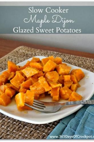 EASY Recipe for Slow Cooker Maple Dijon Glazed Sweet Potatoes
