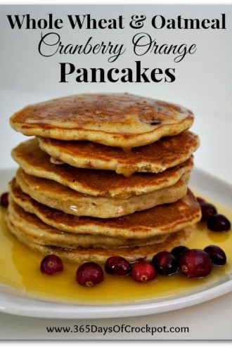 Recipe for Whole Wheat and Oatmeal Cranberry Orange Pancakes with Orange Glaze Syrup