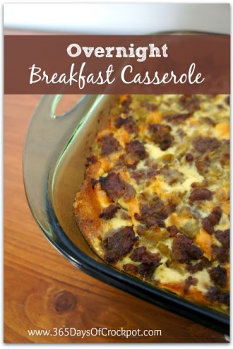 Recipe for Overnight Breakfast Casserole with Eggs, Sausage, Green Chiles and Cheese