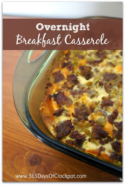 Recipe for Overnight Breakfast Casserole with Eggs, Sausage, Green Chiles and Cheese.  Perfect for Christmas morning! #casserole #breakfast #eggs