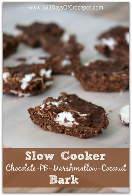 Easy Dessert Recipe for Slow Cooker Chocolate Peanut Butter Marshmallow Coconut Bark #shop