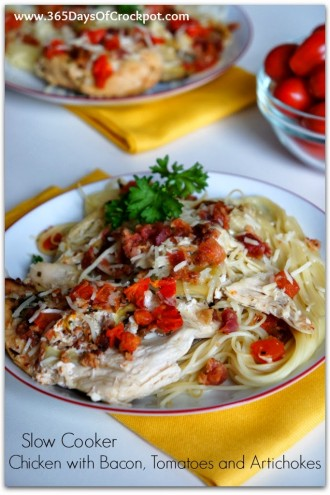 Slow Cooker Tomato Bacon Artichoke Chicken