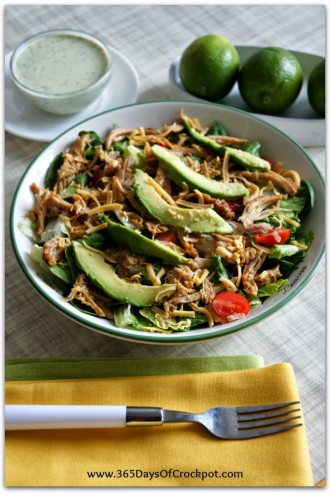Recipe for Slow Cooker Cafe Rio Salad with Tomatillo Ranch Dressing