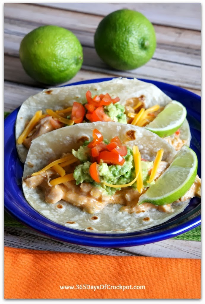 Recipe for Slow Cooker Sour Cream Chicken Taco Filling from 365 Days of Slow Cooking #crockpot #chicken #easydinner