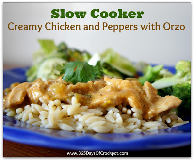 slow cooker creamy chicken and peppers with orzo