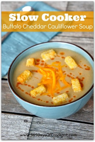 Recipe for Slow Cooker Buffalo Cheddar Cauliflower Soup