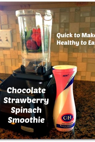 Recipe for 100 Calorie Chocolate Strawberry Spinach Smoothie and Review of C&H® Pourable Golden Brown Sugar and Quick Dissolve Superfine Sugar