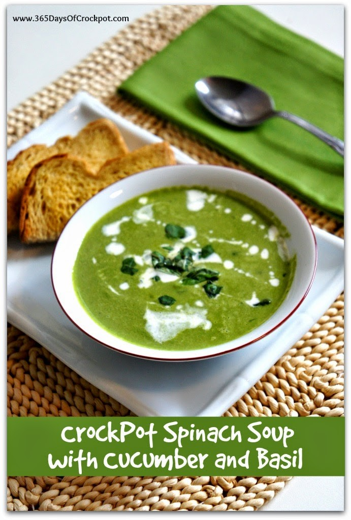 CrockPot Spinach Soup with Cucumber and Basil #soup #meatlessmonday #healthydinner #easydinner #crockpotrecipe