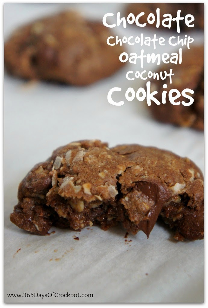 Recipe for Chocolate-Chocolate Chip-Oatmeal-Coconut-Raisin Cookies #cookies #dessert