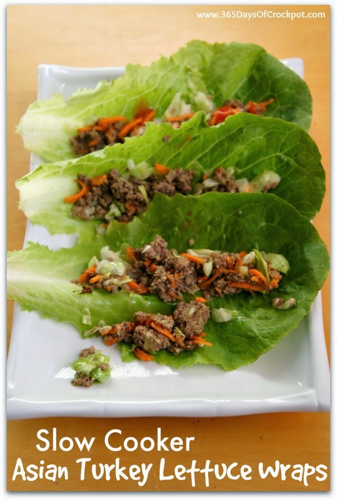 Recipe for Slow Cooker Asian Turkey Lettuce Wraps with Sriracha #slowcookersummersuppers #healthyrecipe #easydinner