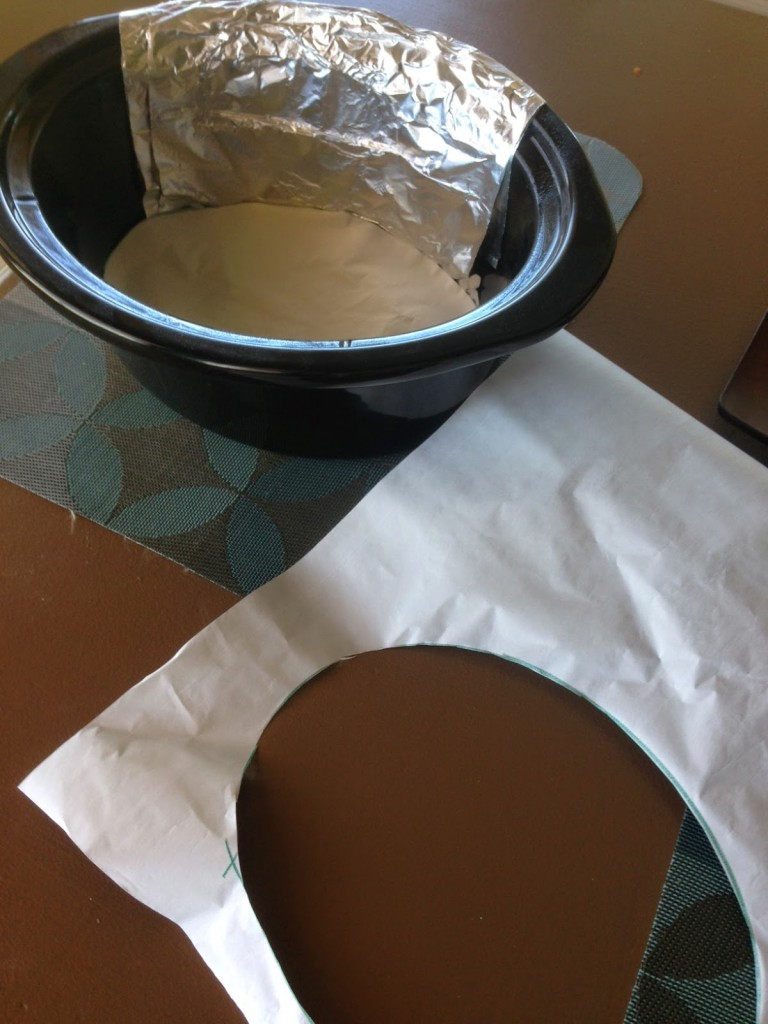 use foil to line the back of your slow cooker so the cornbread doesn't burn