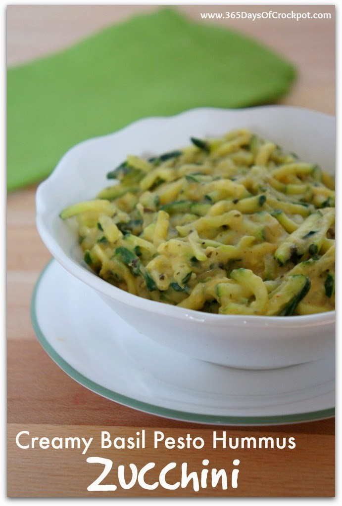 Creamy Basil Pesto Hummus Zucchini Recipe. Only 2 ingredients and so ...