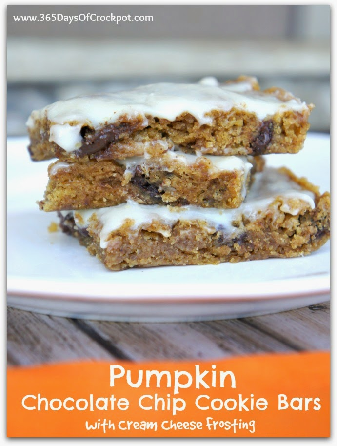 From scratch pumpkin chocolate chip cookies bars with cream cheese frosting. #easydessert #pumpkin #fallflavors