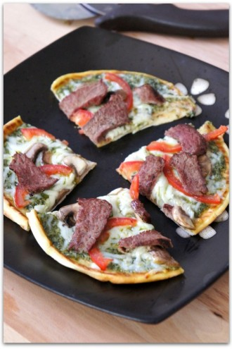 Personal Pesto Pizza with Steak, Mushrooms and Tomatoes