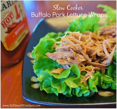 Crockpot Recipe for Buffalo Pork Lettuce Wraps #slowcooker #crockpot #dinner #pork