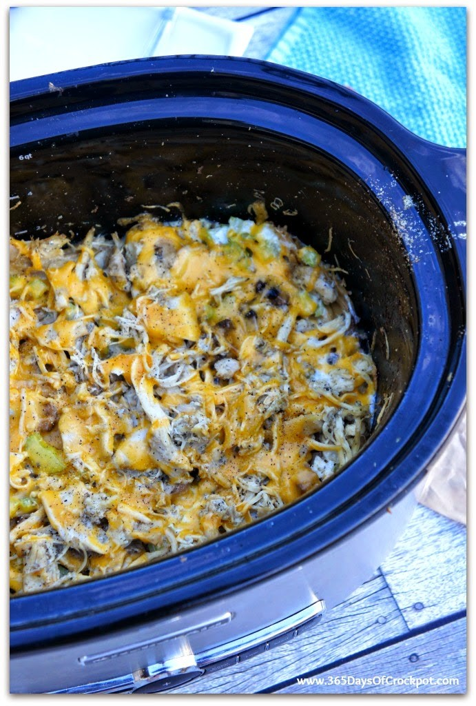 One Pot  Chicken Tetrazini in the crockpot!  No need to boil the noodles beforehand.  So easy and yummy!