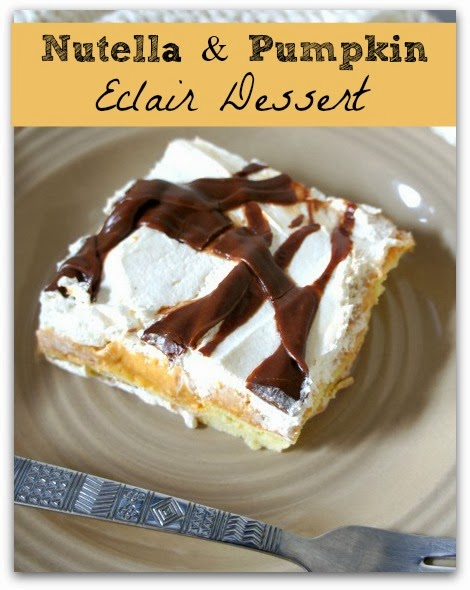 Pumpkin Eclair Dessert with a nutella topping drizzled all over the top. This dessert is to die for!