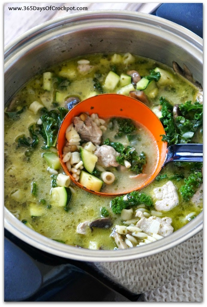 Crock Pot Pesto Minestrone Soup that is chalk full of kale, mushrooms, lentils and pesto.