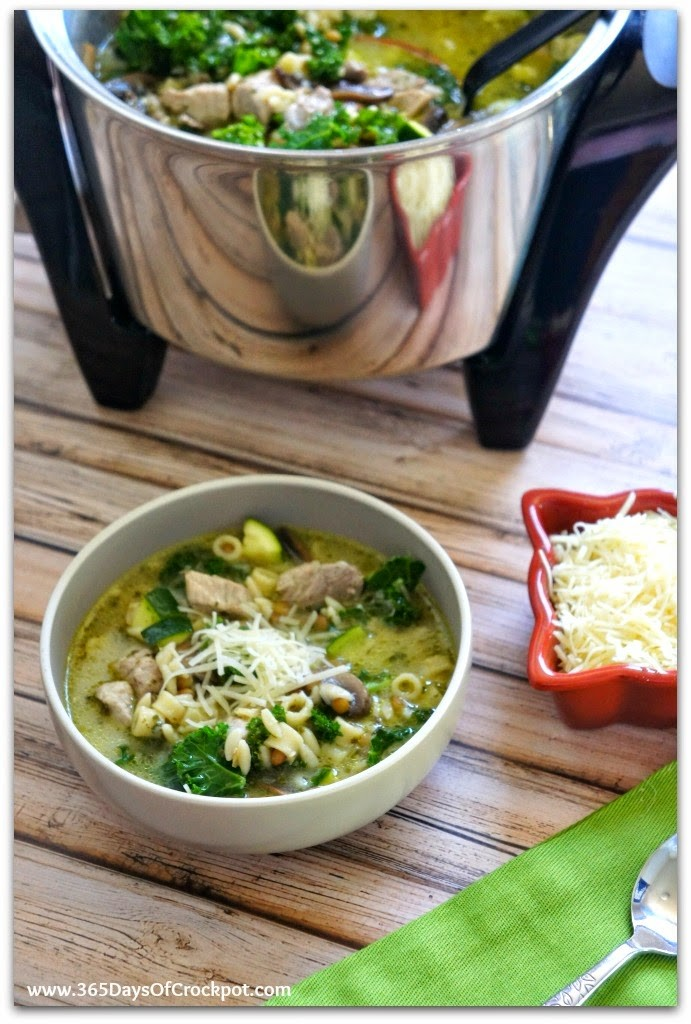 Slow Cooker Pesto Minestrone Soup...great flavor with lots and lots of texture.